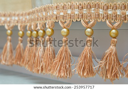 Curtains with ornaments in the modern house. - stock photo