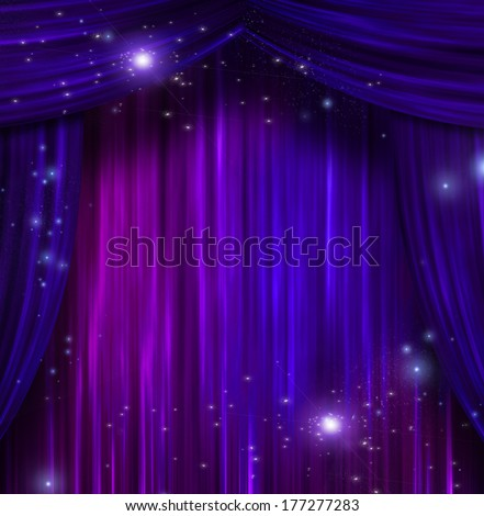 Curtains with Sparkle - stock photo