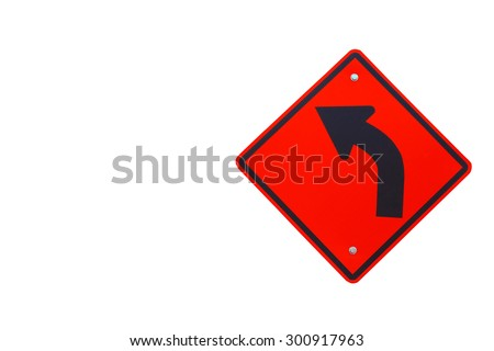 Curve ahead road sign - stock photo