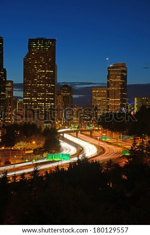 curve highway in seattle - stock photo
