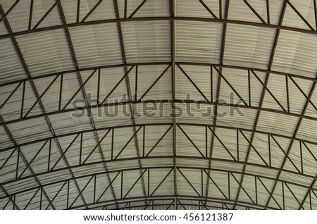 Curve line Steel structure  Detail of Metal roof construction - stock photo