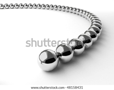 Curve made from metal shiny balls. For similar images please check my portfolio - stock photo