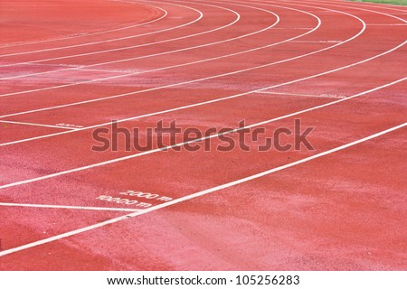 Curve of a Running Track - stock photo