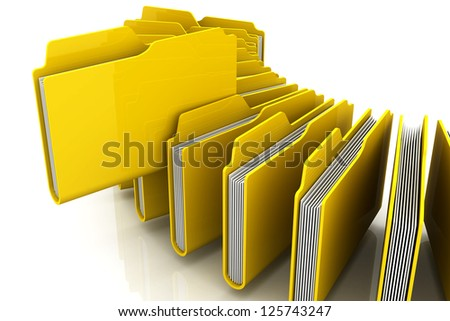 Curve of 3d Yellow folders - stock photo