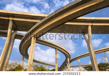 Curve of High way bridge in Thailand - stock photo