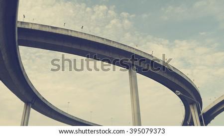 curve of toll bridge - stock photo