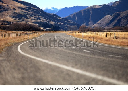 Curve Road in Lindiss pass , New Zealand - stock photo
