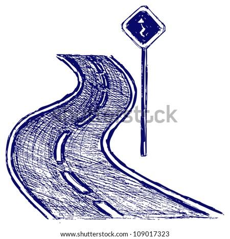 Curve road.  Raster - stock photo