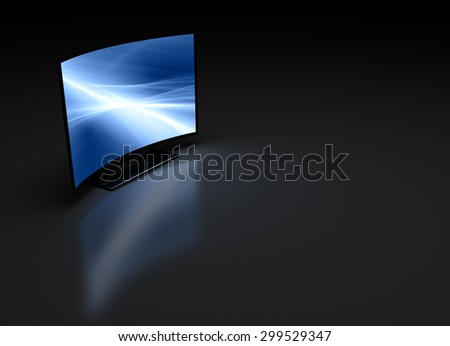 Curve TV on Dark - stock photo