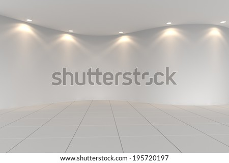 Curve white empty room with tile floor and downlight - stock photo