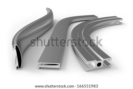 Curved aluminum profile - stock photo