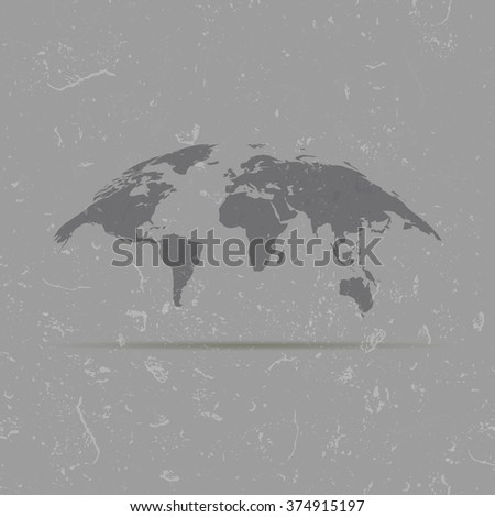 curved map of the world on the old background - stock photo