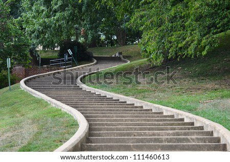 Curved stairs going up - stock photo