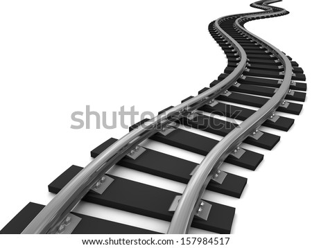 Curved train tracks on white background. 3D illustration. - stock photo