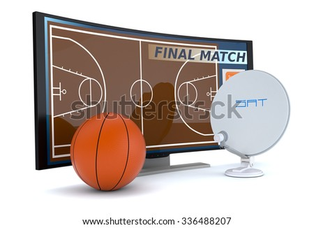 curved tv with a basketball and a sat dish on white background (3d render) - stock photo