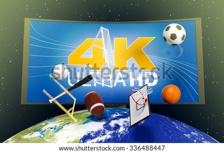 curved tv with 4k on screen, on top of a world globe, with symbols of various sports falling from the sky, concept of worldwide broadcast (3d render)- Elements of this image furnished by NASA - stock photo