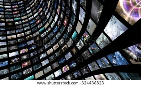 Curved video wall. 3D rendering - stock photo