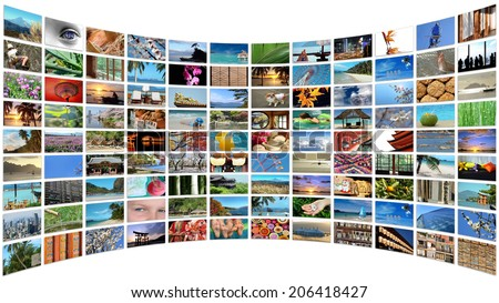 Curved wall of images, isolated on white background - stock photo