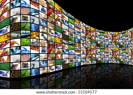 Curved wall of screens - stock photo