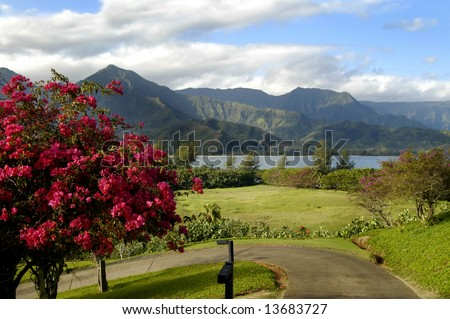 Curving road on Kauai, Hawaii leads to a beautiful view with bay, blue sky, clouds and rugged mountain peaks. - stock photo