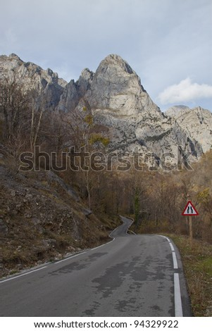 Curving road, Picos da Europa, Spain - stock photo