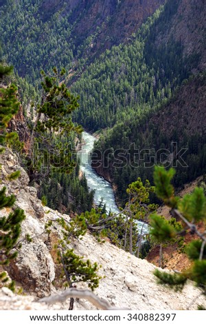 Curving Yellowstone River travels through the Grand Canyon of the Yellowstone.  Evergreen forest clings to steep sides of canyon in Yellowstone National Park in Wyoming. - stock photo