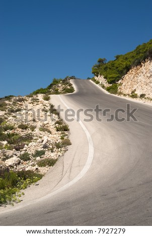 Curvy and steep road - stock photo