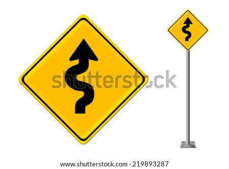 Curvy road sign  - stock photo
