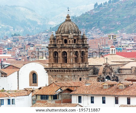 Cusco cathedral in Sacred Valley, Peru. (UNESCO World Heritage Site) - stock photo