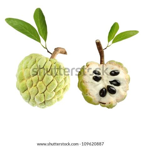 Custard apple on white background - stock photo