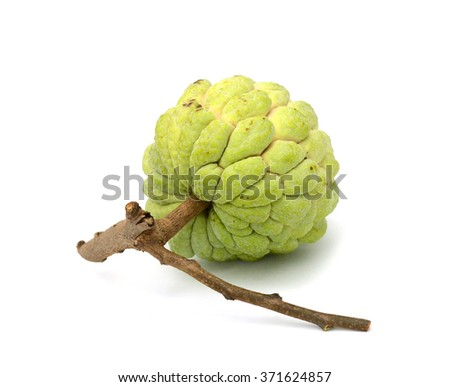 Custard apples group on white background with isolate. - stock photo