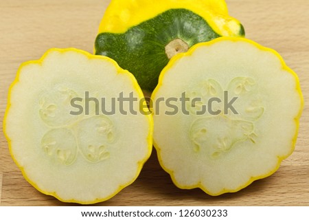 Custard Marrow Squash on cutting board - stock photo