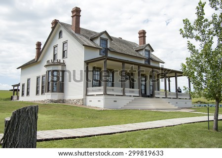 Custer House, Fort Abraham Lincoln State Park, Mandan, ND - stock photo