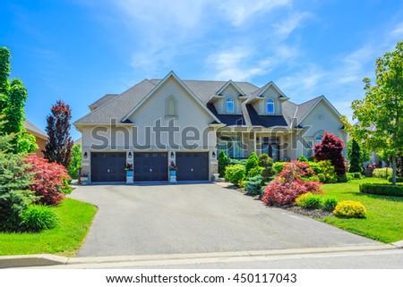 Custom built luxury house in the suburbs of Toronto, Canada. - stock photo