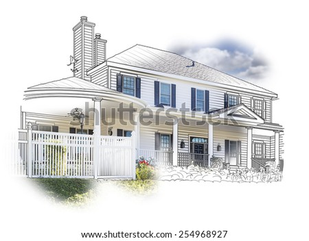 Custom House Drawing and Photo Combination on White Background. - stock photo