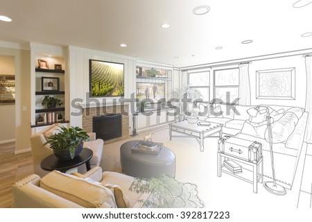 Custom Living Room Drawing Gradation Into Photograph. - stock photo