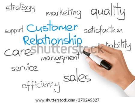 Customer. Business hand writing customer relationship concept - stock photo