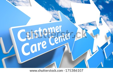 Customer Care Center 3d render concept with blue and white arrows flying in a blue sky with clouds - stock photo