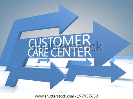 Customer Care Center 3d render concept with blue arrows on a bluegrey background. - stock photo