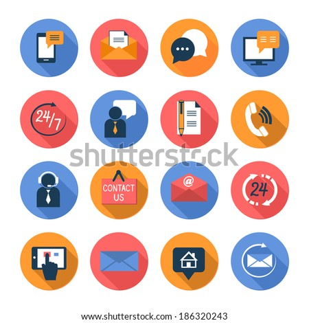 Customer care contacts flat icons set of online and offline support services isolated  illustration - stock photo