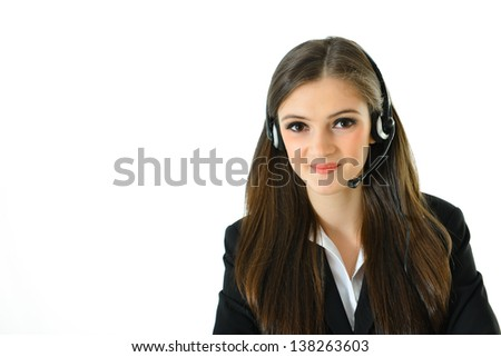 Customer Care Representative with Arms Crossed (close up view) - stock photo