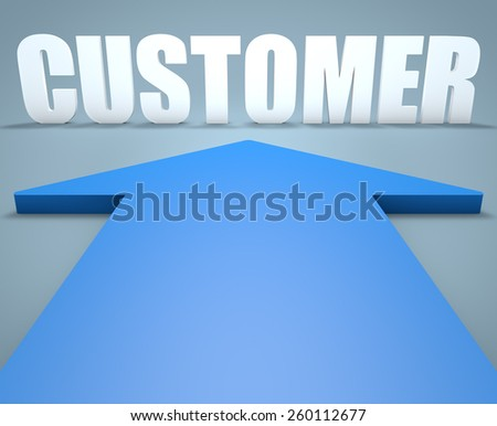 Customer - 3d render concept of blue arrow pointing to text. - stock photo