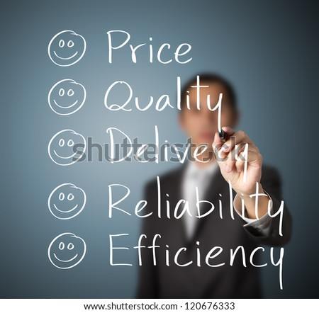 customer evaluate happy on  price quality delivery reliability and efficiency - stock photo
