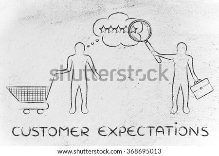 customer expectations: businessman reading client's mind with giant magnifying glass - stock photo