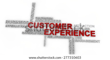 Customer Experience Word Cloud over white background - stock photo