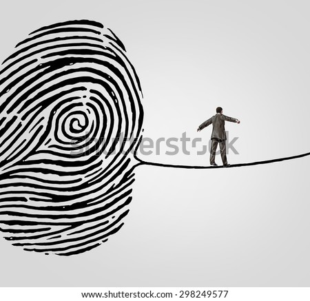Customer information security risk concept as a person walking on a finger print shaped as a high wire line as an online  symbol and metaphor for personal account data or database breach danger. - stock photo