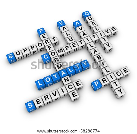 customer loyalty (blue-white cubes crossword series) - stock photo