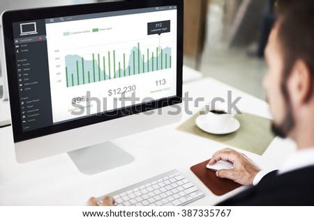 Customer Marketing Sales Dashboard Graphics Concept - stock photo
