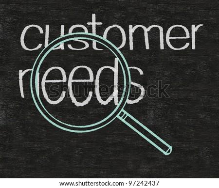 customer needs business written on blackboard background - stock photo