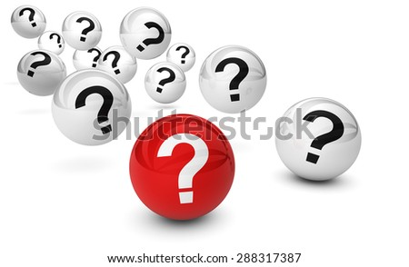 Customer questions and question mark symbol on bouncing glossy spheres 3d render isolated on white background. - stock photo
